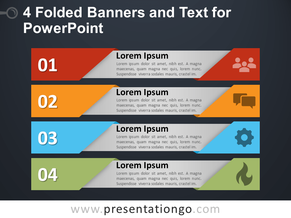 Free 4 Folded Banners and Text for PowerPoint - Dark Background