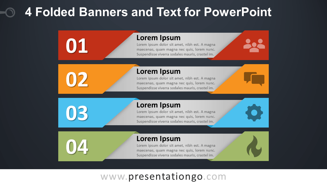 Free 4 Folded Banners with Text for PowerPoint - Dark Background
