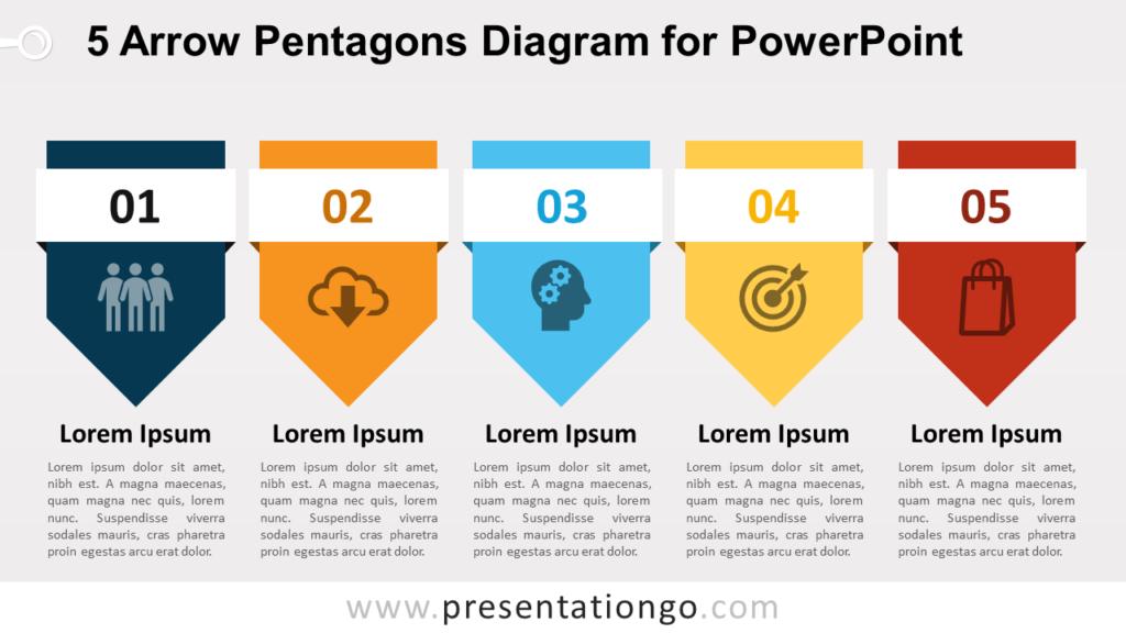 Free 5 Arrow Pentagons PowerPoint Diagram