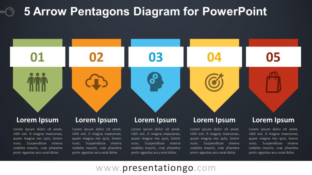 Free 5 Arrow Pentagons PowerPoint Diagram - Dark Background