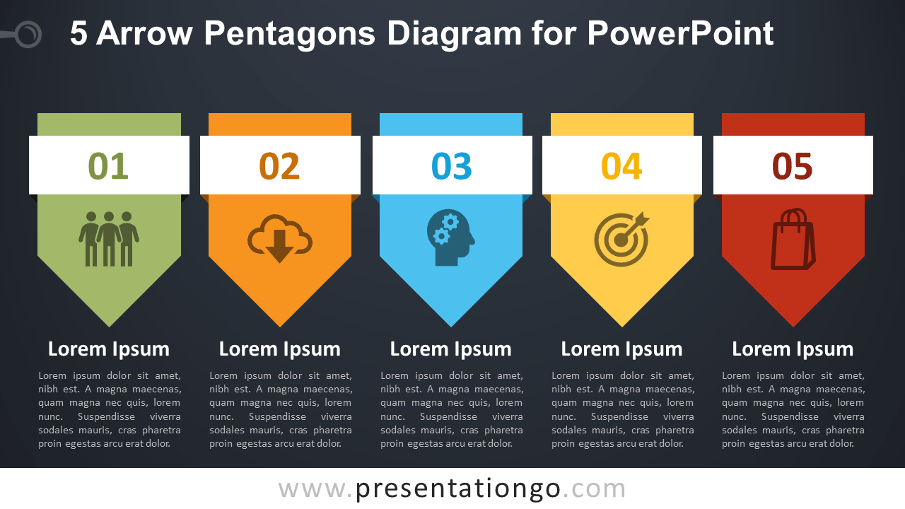 Free 5 Arrow Pentagons PowerPoint Diagram - Dark Background