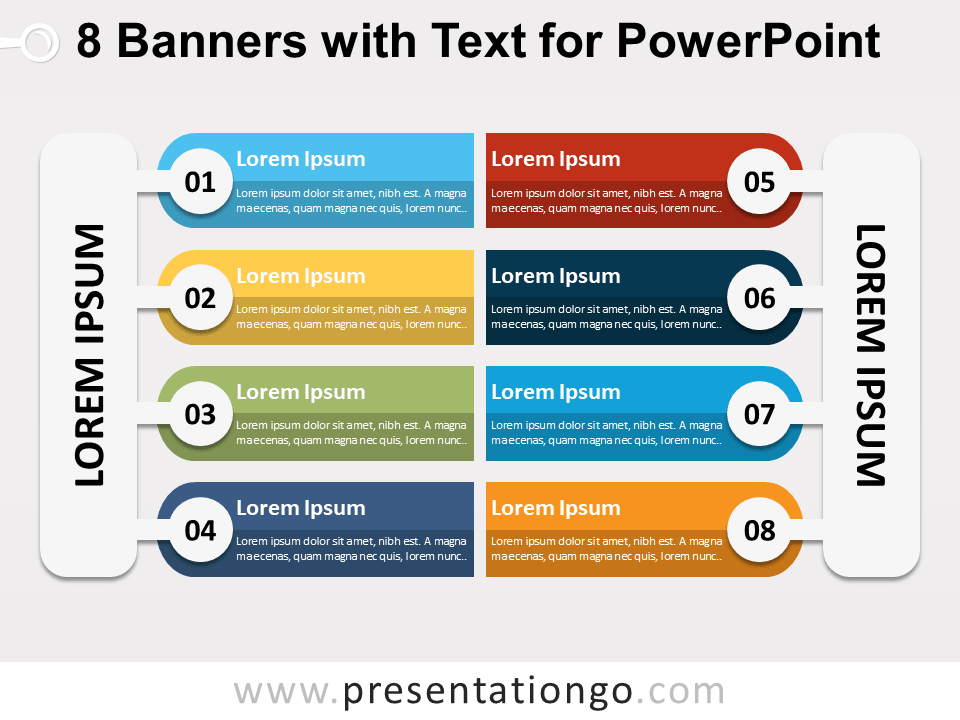 8 banners with text for powerpoint