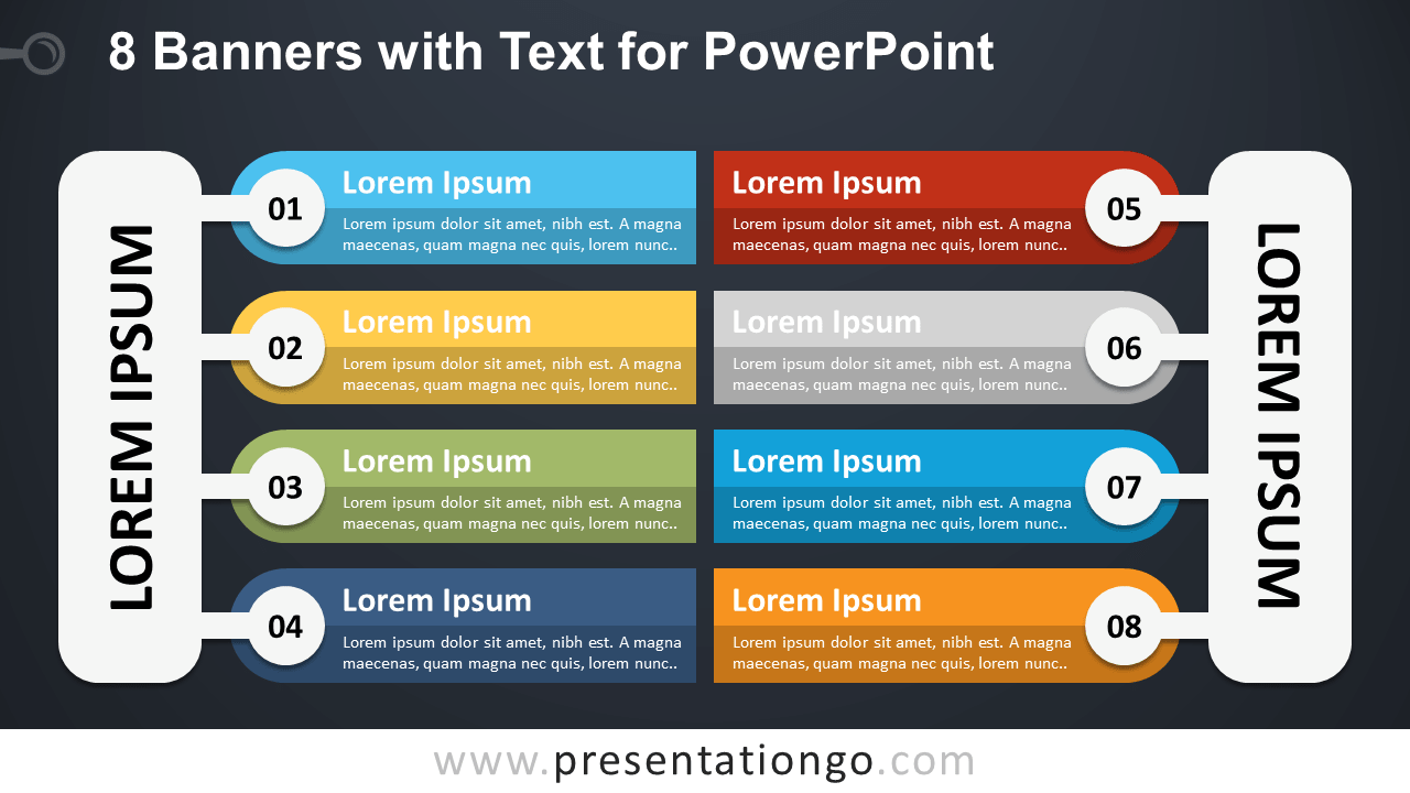 Free 8 Banners with Text for PowerPoint - Dark Background