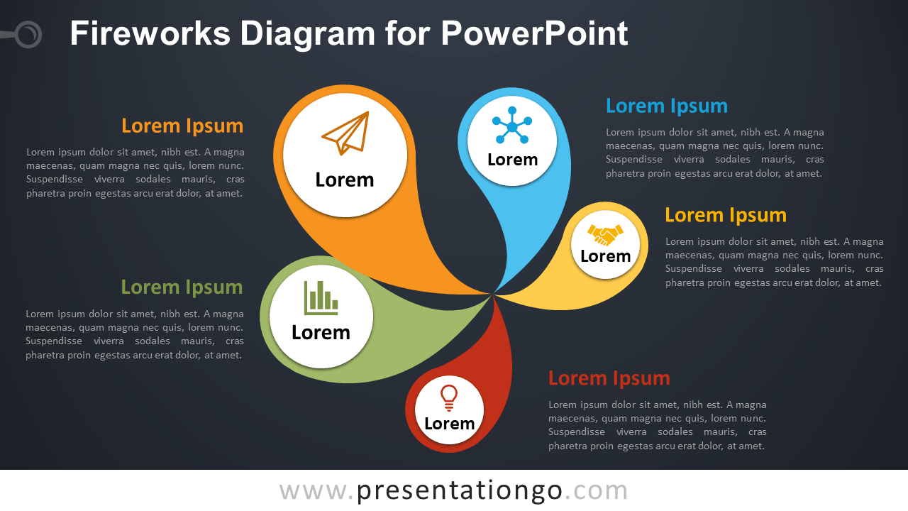 Free Fireworks PowerPoint Diagram - Dark Background