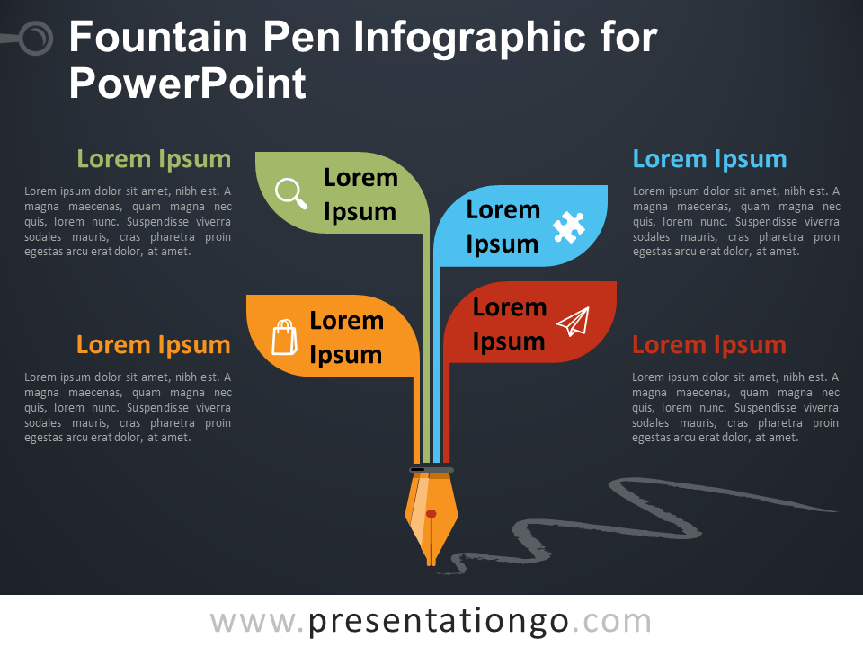 Free Fountain Pen Infographic for PowerPoint - Dark Background