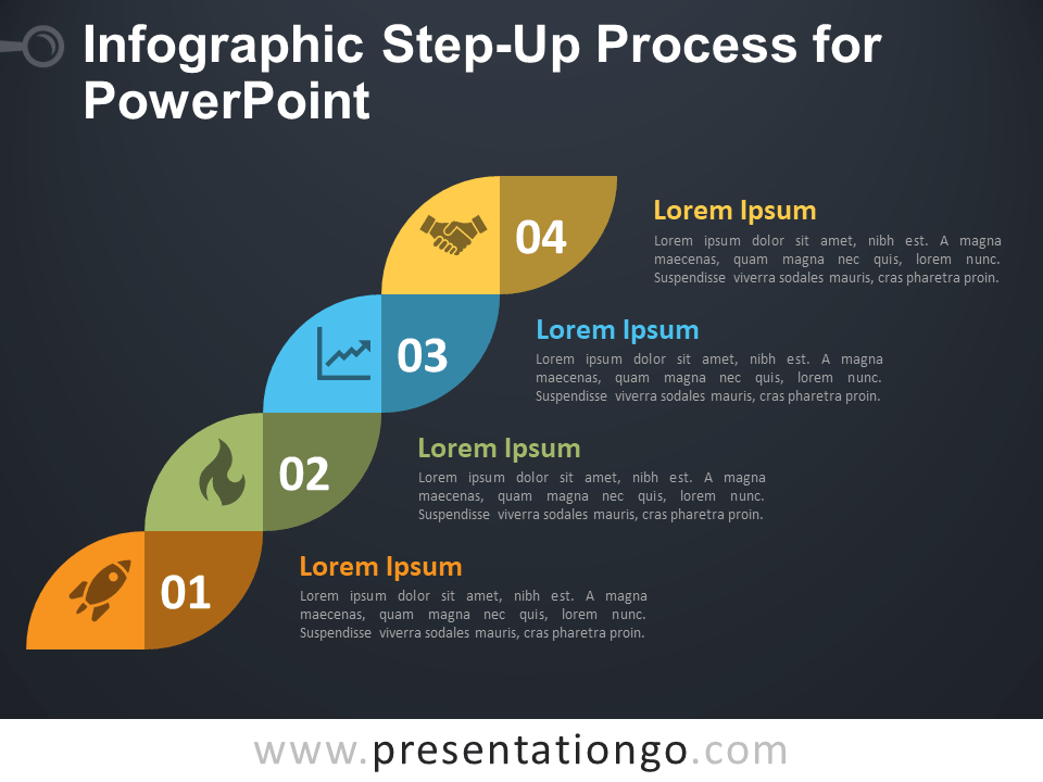 Free Infographic Step-Up Process for PowerPoint - Dark Background