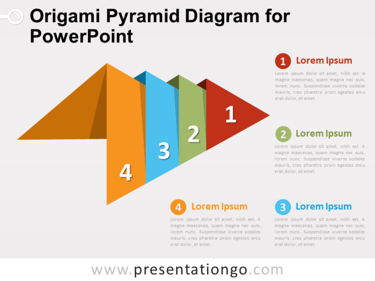 Free Origami Pyramid Diagram for PowerPoint