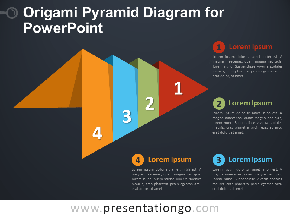 Free Origami Pyramid Diagram for PowerPoint - Dark Background