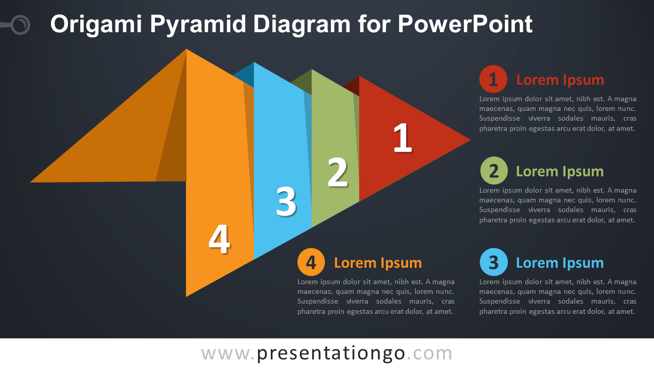 Free Origami Pyramid PowerPoint Diagram - Dark Background