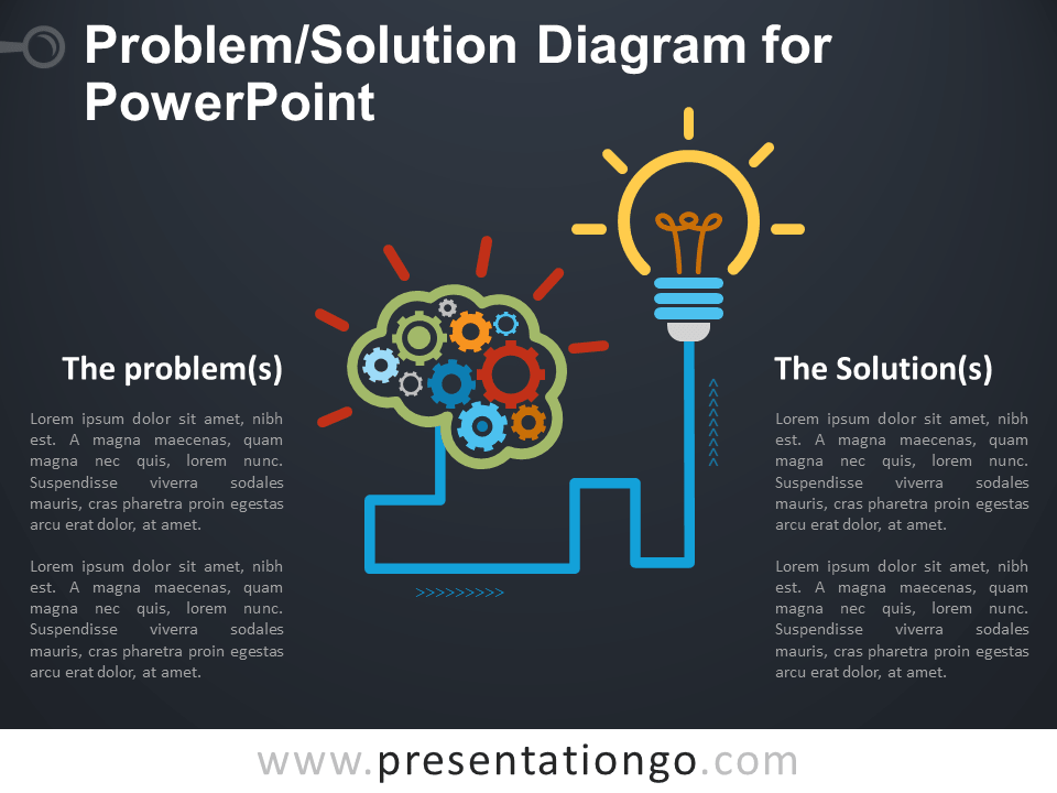 Free Problem and Solution Diagram for PowerPoint - Dark Background