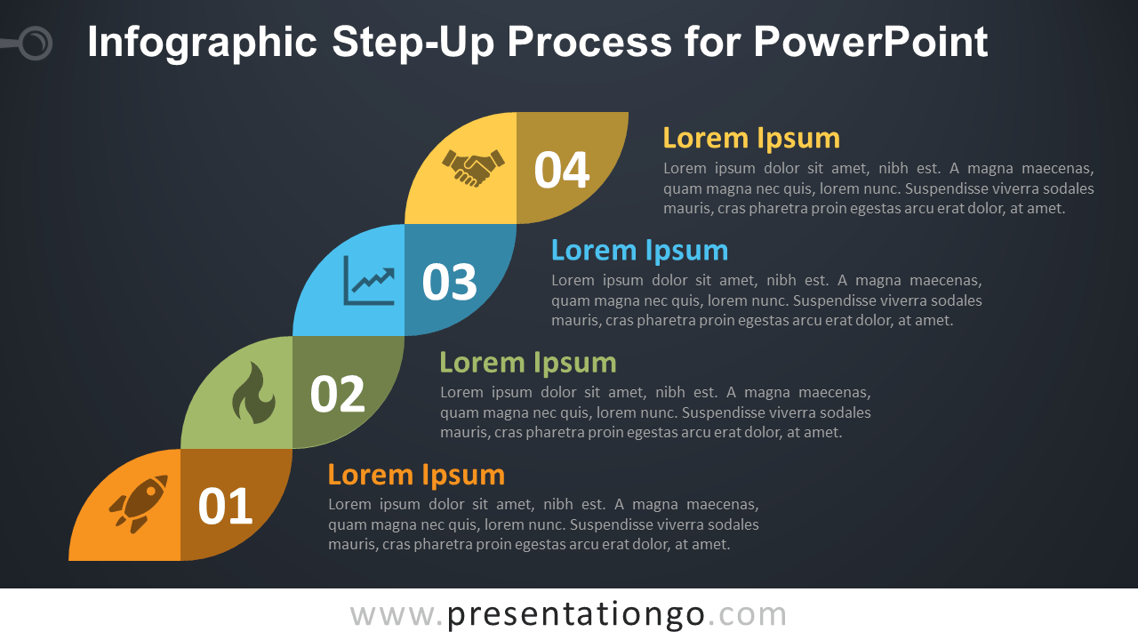 Free Step-Up PowerPoint Process - Dark Background