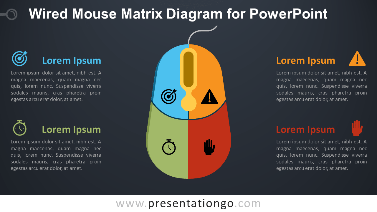 Free Wired Mouse Matrix PowerPoint Diagram - Dark Background
