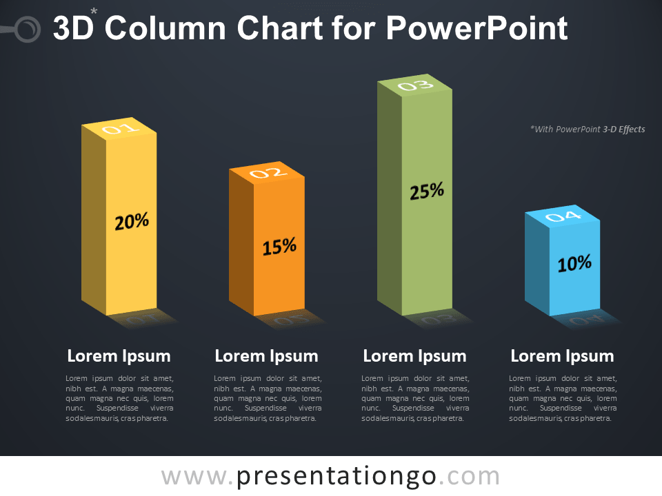 Free 3D Column Chart for PowerPoint - Dark Background