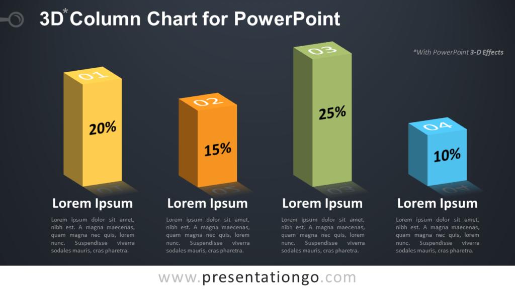 Free 3D Column PowerPoint Chart - Dark Background