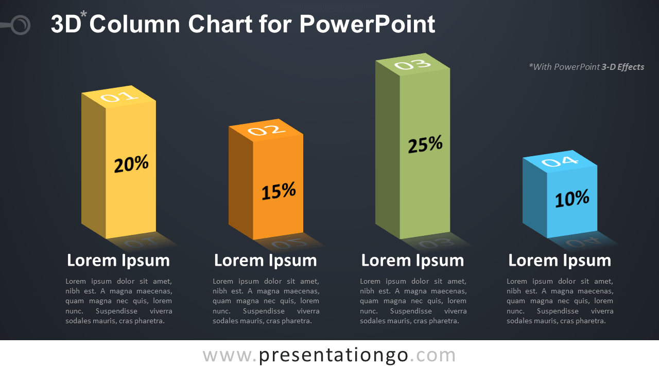 Free 3D Column PowerPoint Chart - Dark Background