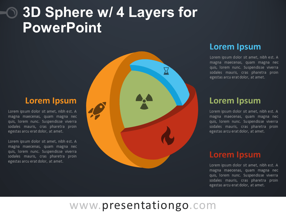 Free 3D Sphere with 4 Layers for PowerPoint - Dark Background