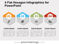Free 4 Flat Hexagon Infographics for PowerPoint