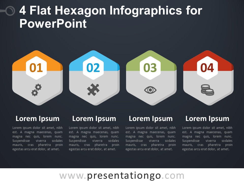 Free 4 Flat Hexagon Infographics for PowerPoint - Dark Background