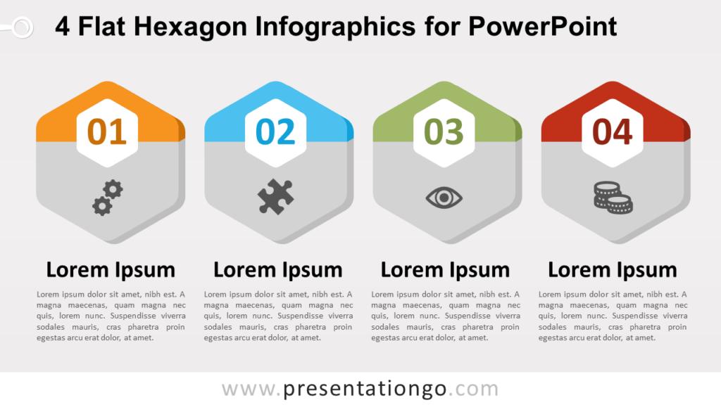 Free 4 Flat Hexagon PowerPoint Infographics