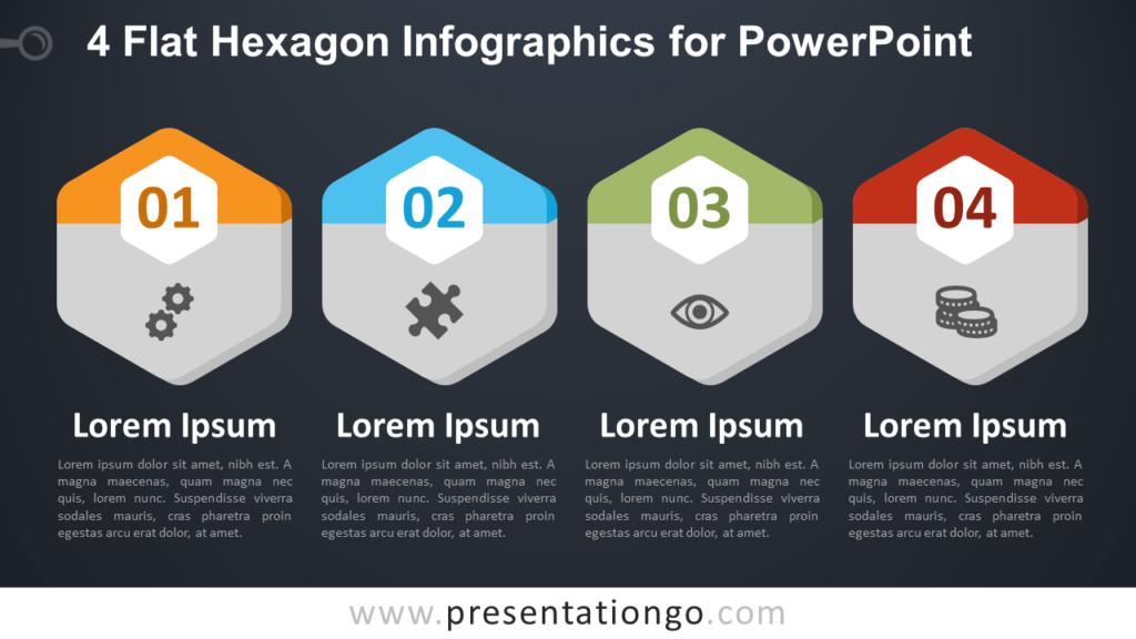 Free 4 Flat Hexagon PowerPoint Infographics - Dark Background
