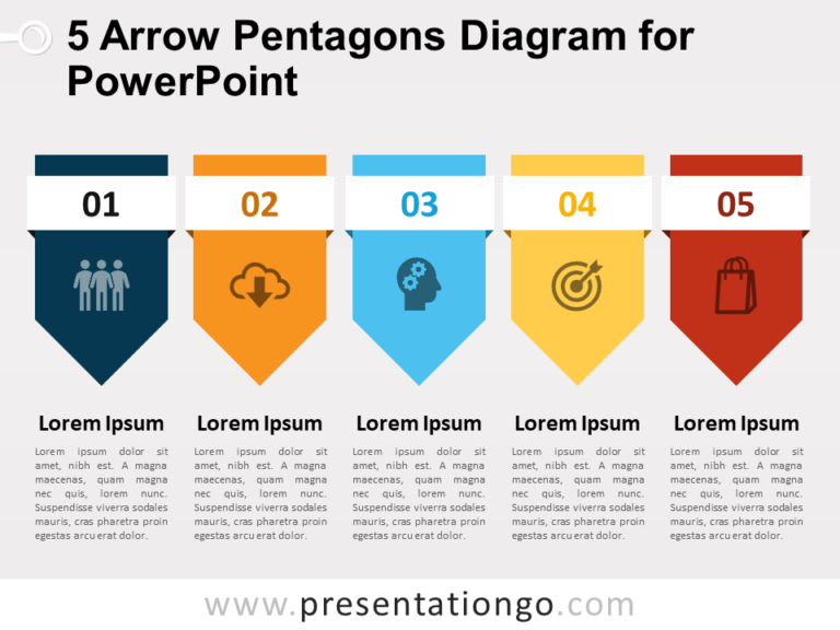 Free 5 Arrow Pentagons Diagram for PowerPoint