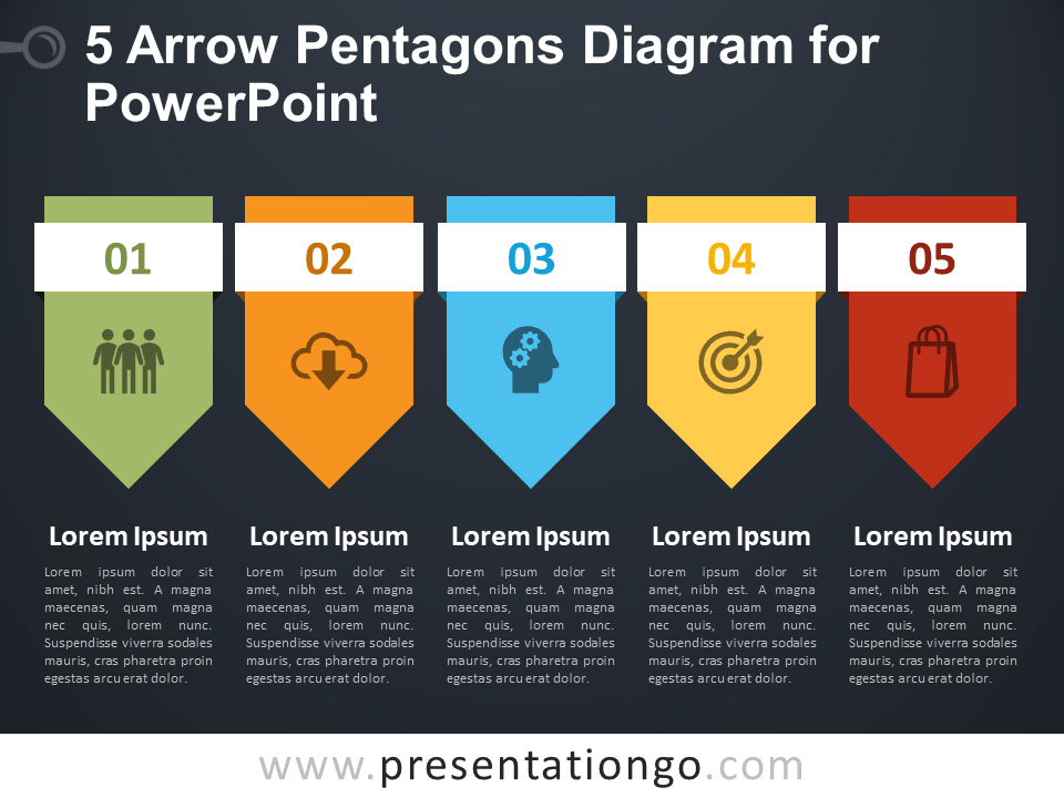 Free 5 Arrow Pentagons Diagram for PowerPoint - Dark Background