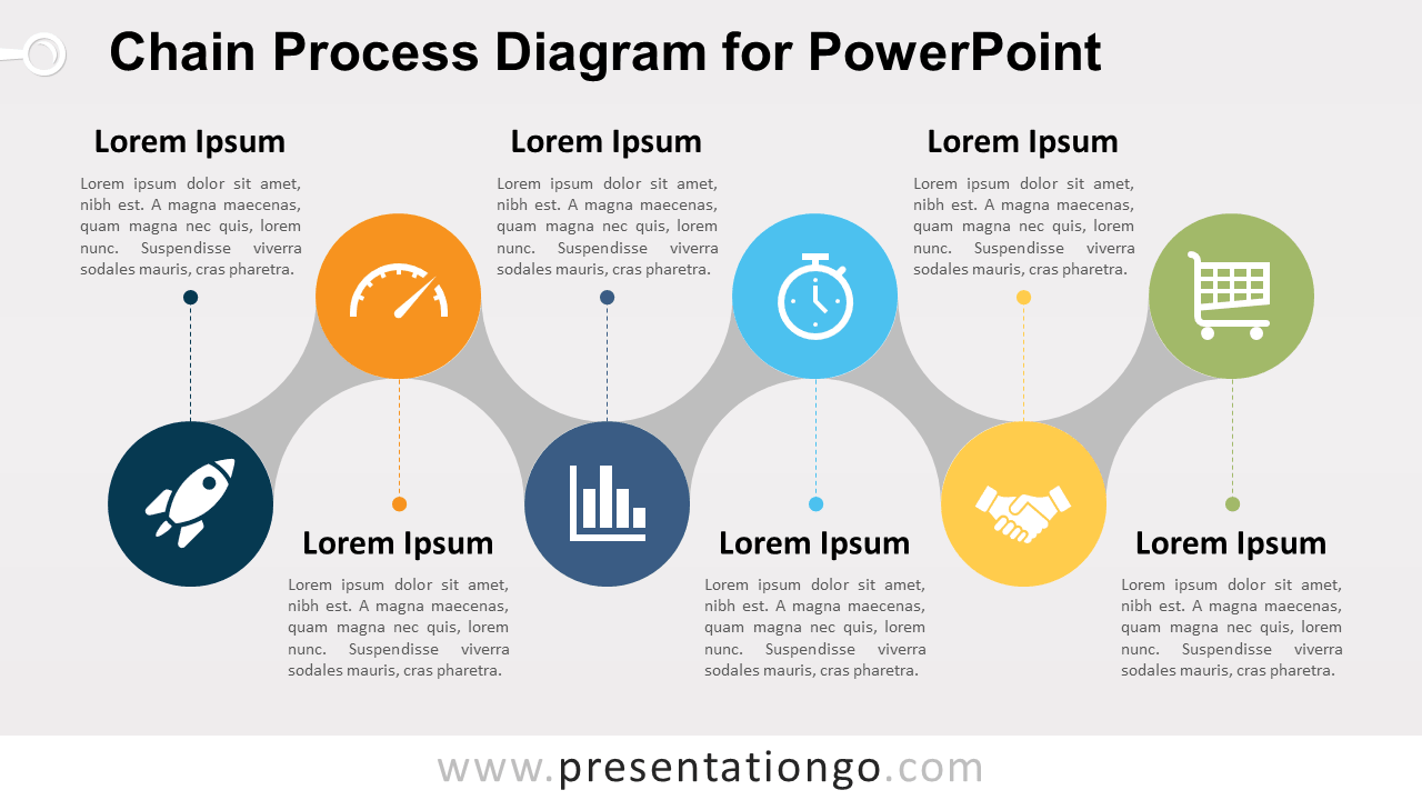 Free Chain Process for PowerPoint with Text