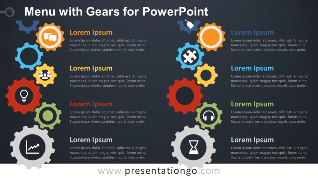 Free Content Gears PowerPoint - Dark Background