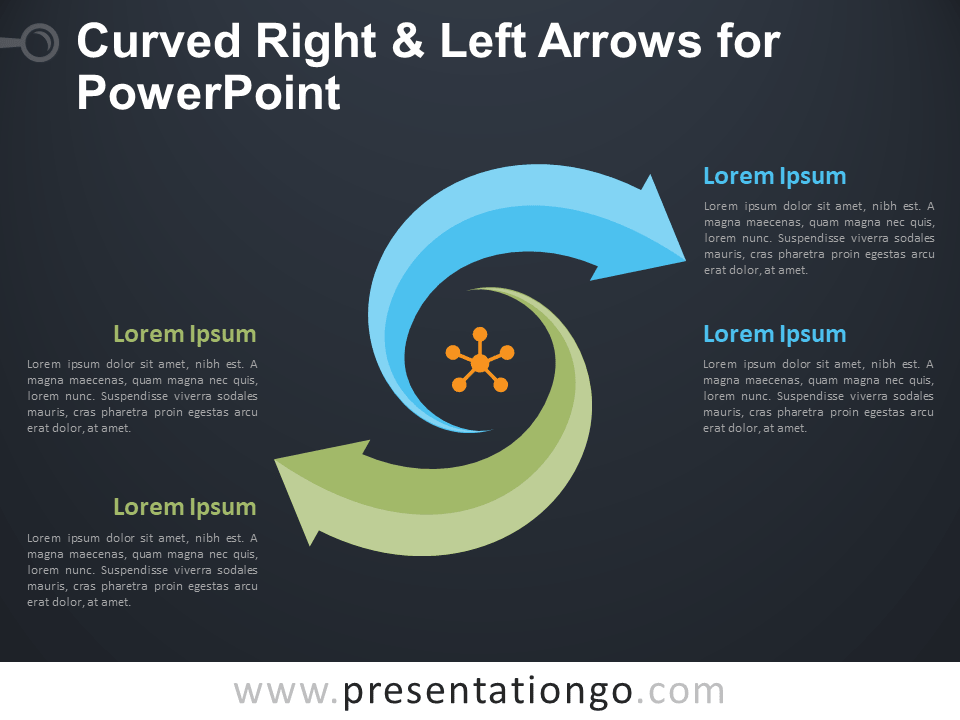 Free Curved Right and Left Arrows for PowerPoint - Dark Background