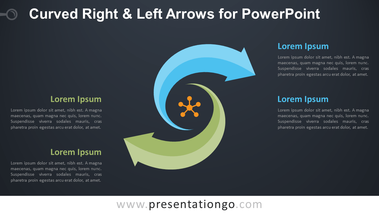 Free Curved Right and Left Arrows for PowerPoint Diagram - Dark Background