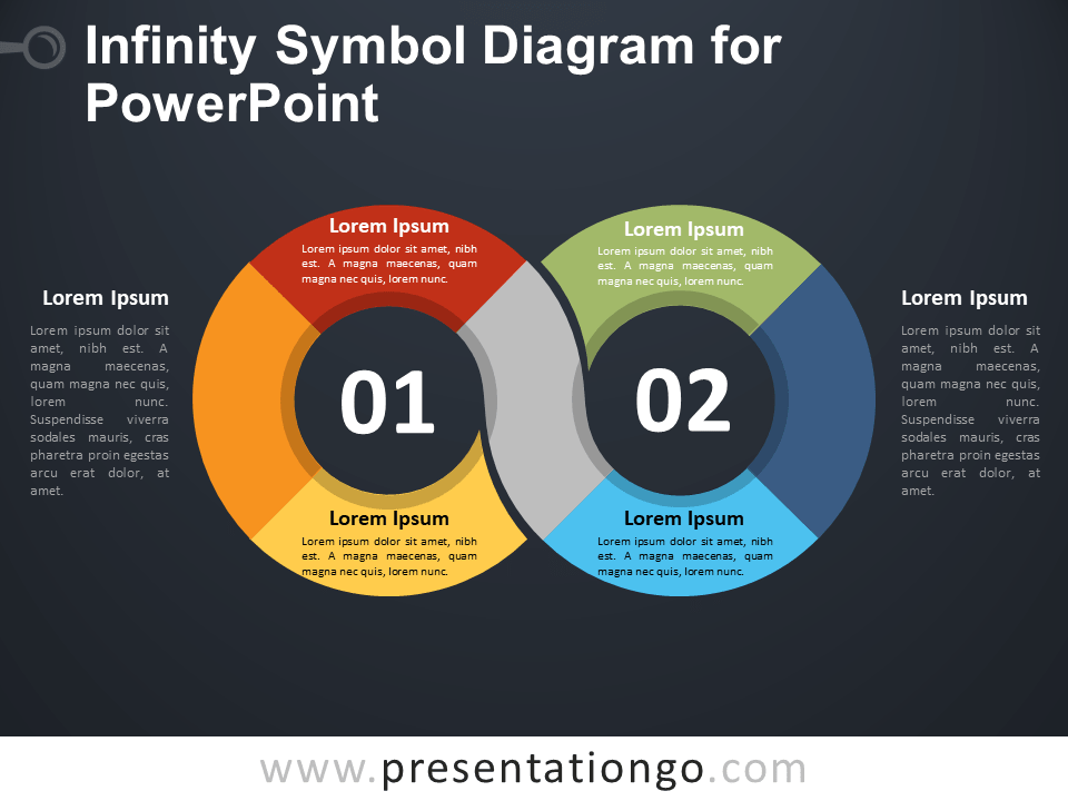 Free Infinity Symbol Diagram for PowerPoint - Dark Background