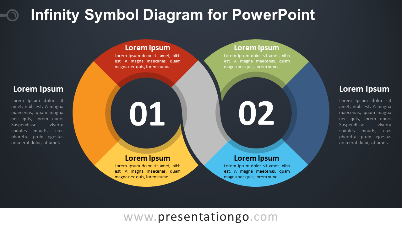 Free Infinity Symbol PowerPoint Diagram - Dark Background