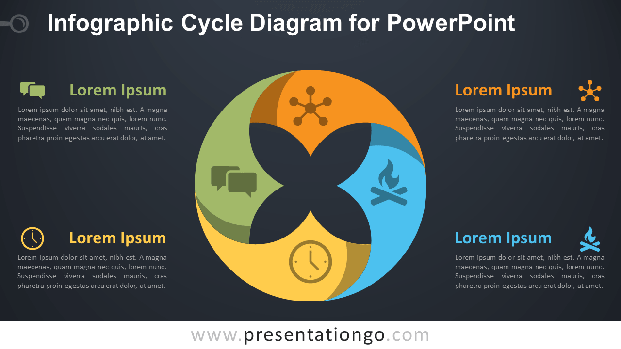 Free Infographic Cycle PowerPoint Diagram - Dark Background
