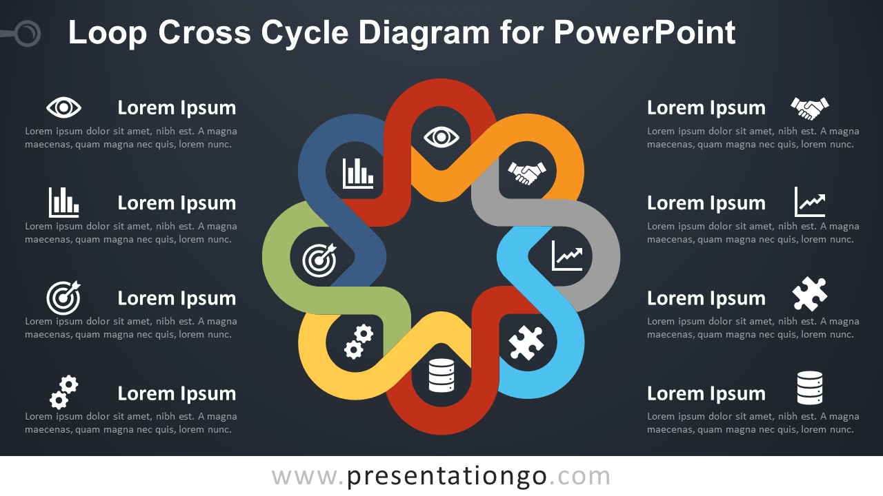 Free Loop Cross Cycle PowerPoint Diagram - Dark Background