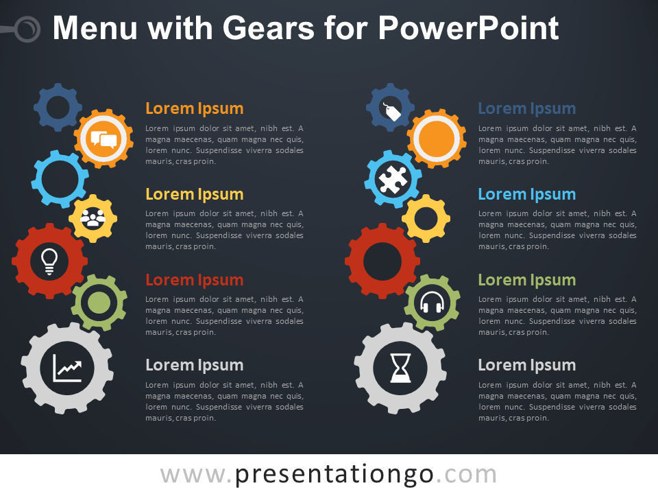 Free Menu Gears for PowerPoint - Dark Background