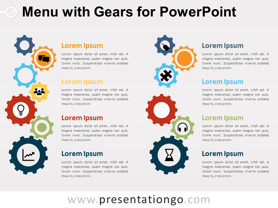 Free Menu Gears for PowerPoint