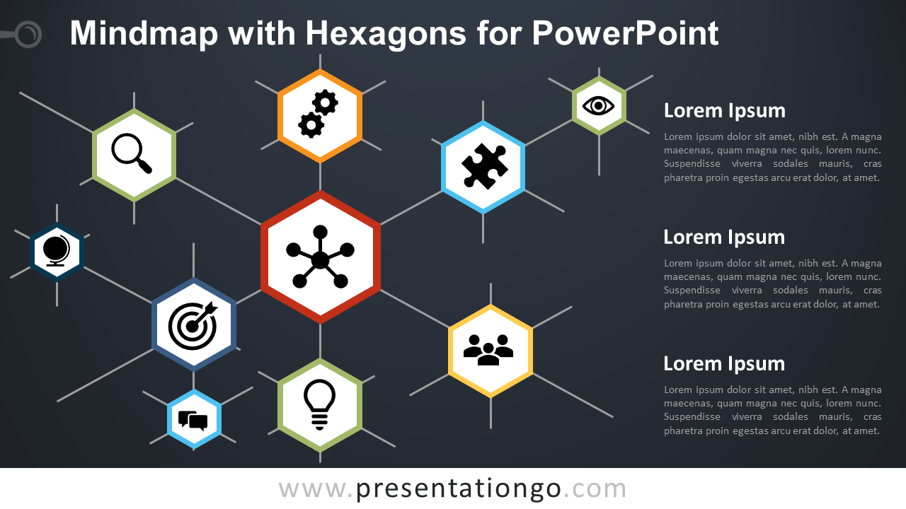 Free Mindmap Hexagons Diagram for PowerPoint - Dark Background