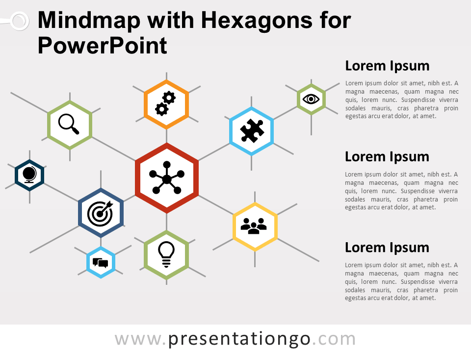Free Mindmap with Hexagons for PowerPoint
