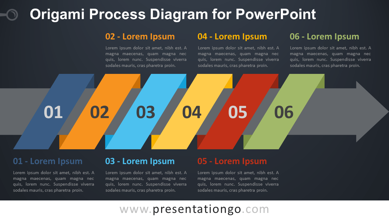 Free Origami Process PowerPoint Diagram - Dark Background