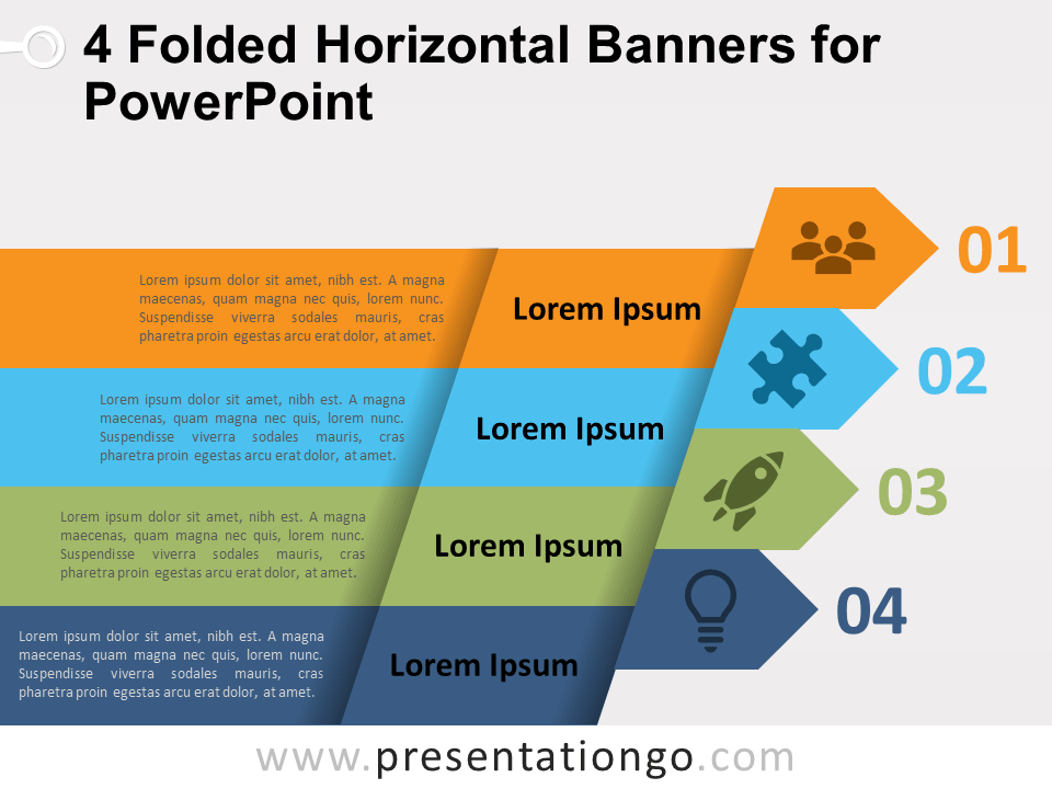 Free 4 Folded Horizontal Banners for PowerPoint