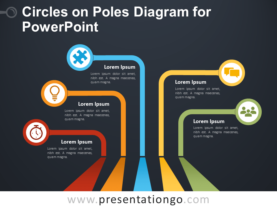 circles on poles diagram for powerpoint - presentationgo.com dark circles diagram