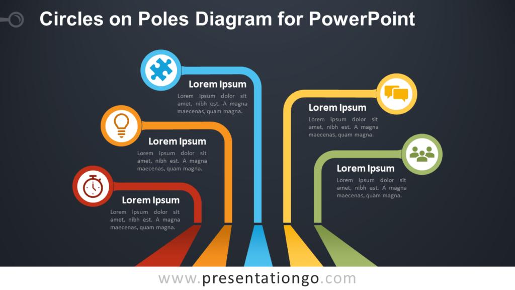 Free Circles on Poles PowerPoint Diagram - Dark Background