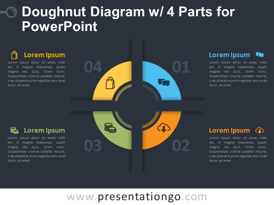 Free Doughnut Diagram with 4 Parts for PowerPoint Template