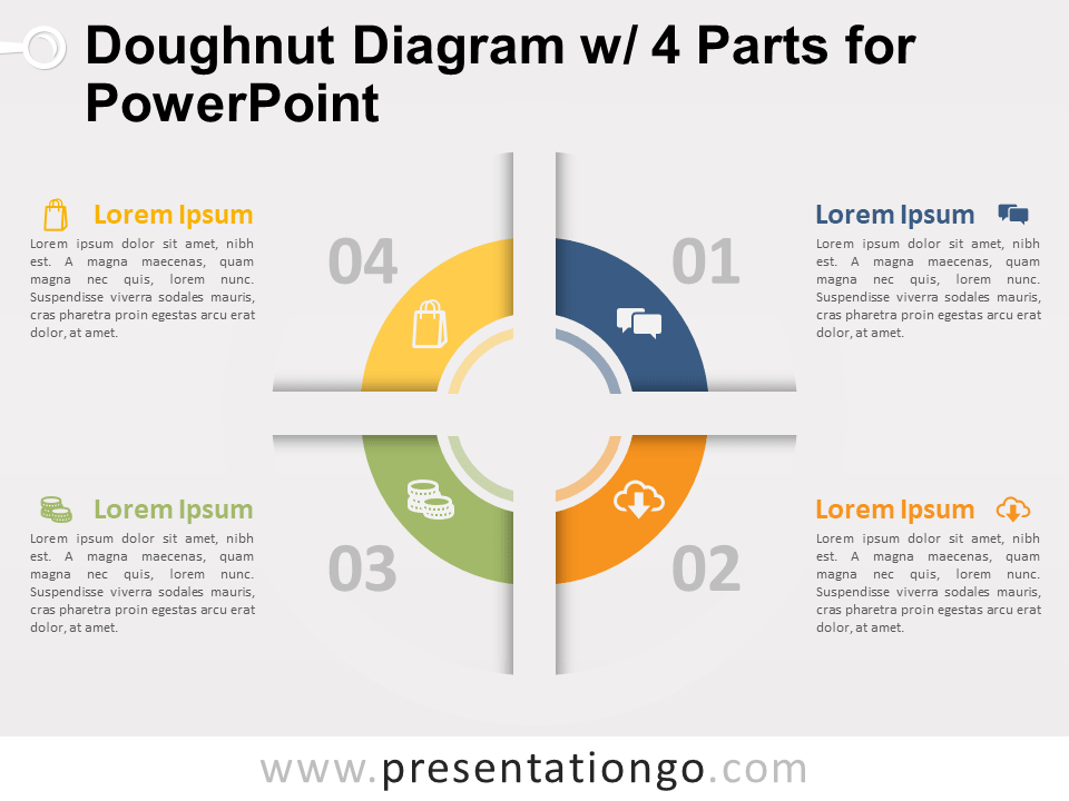 Free Doughnut Diagram with 4 Parts for PowerPoint