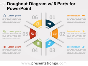 Free Doughnut Diagram with 6 Parts for PowerPoint