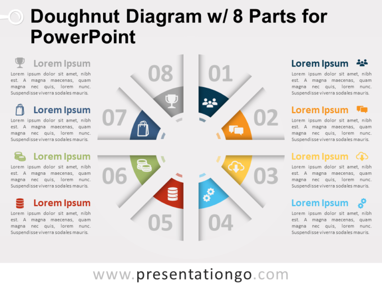 Free Doughnut Diagram with 8 Parts for PowerPoint