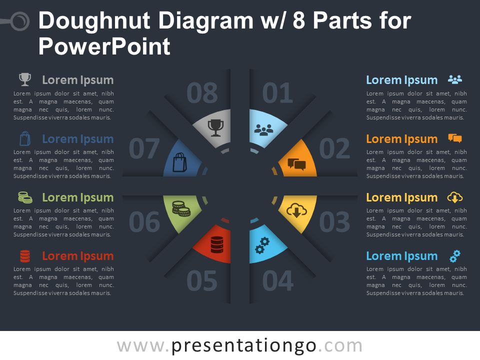 Free Doughnut Diagram with 8 Parts for PowerPoint Template