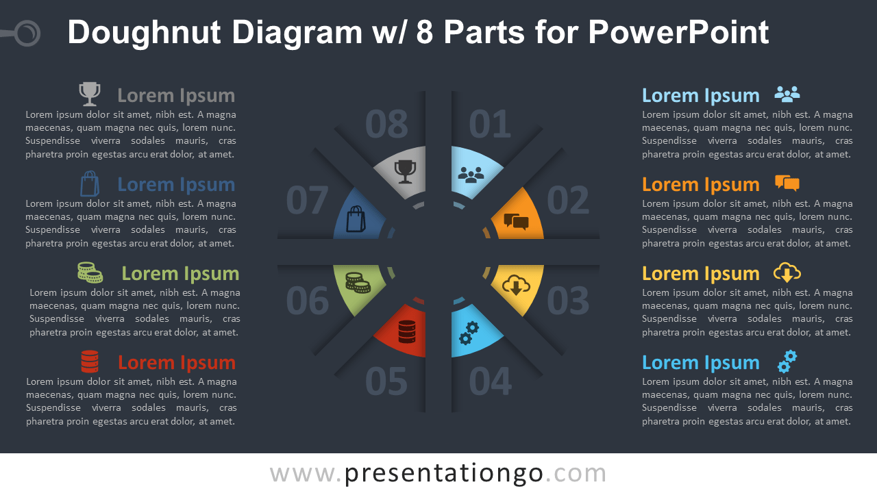 Doughnut PowerPoint with 8 Parts Template