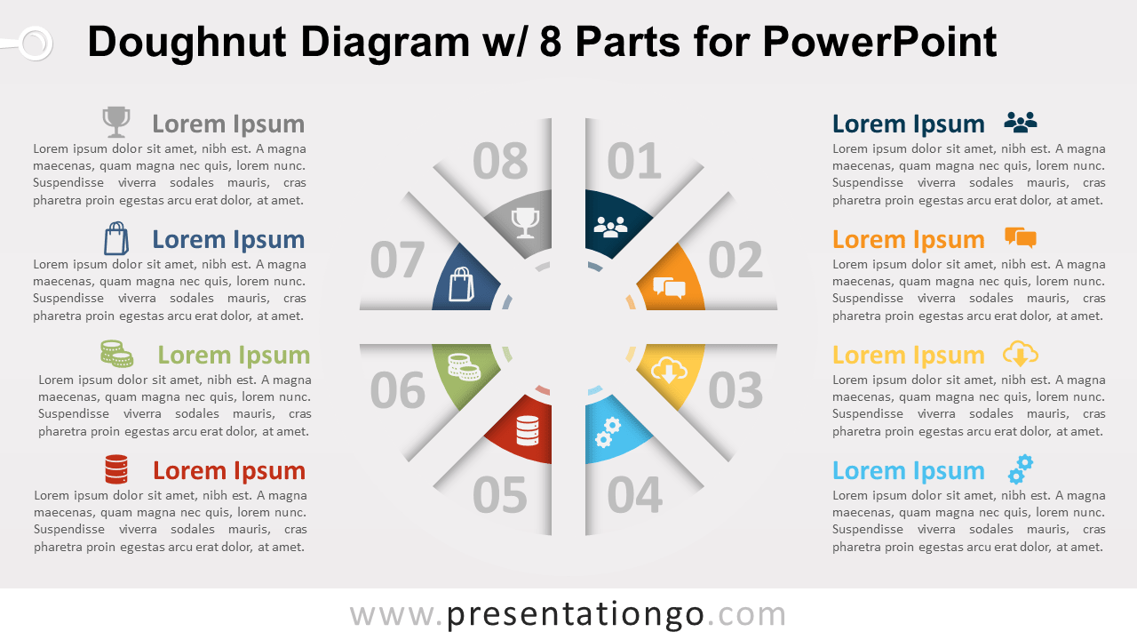 Free Doughnut PowerPoint with 8 Parts