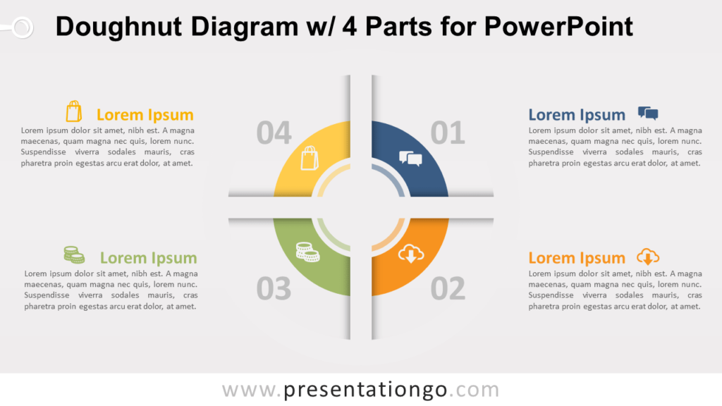 Free Doughnut PowerPoint Diagram with 4 Parts